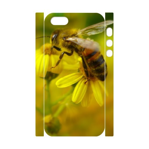 3D IPhone 5,5S Case Bee 16, Hipster Protective Bee Ancos, {White}