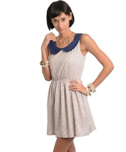2Luv Women'S Peter Pan Collar Dotted Dress Navy M(Ad3078)