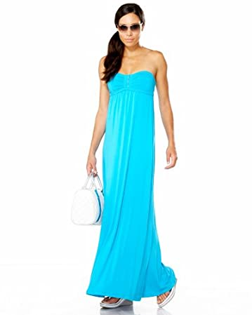 bebe Zip Front Strapless Maxi Dress