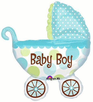 """Baby Boy! Large 31"""" Jumbo Baby Buggy Mylar Foil Balloon - Baby Shower front-966714"""