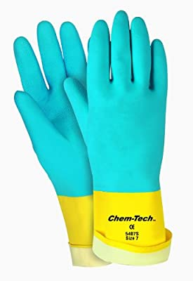 MCR Safety 5407S 7-1/2-Inch Chem-Tech Seamless Nitrile Rubber Gloves with Straight Cuff and Flocked Lining, Blue/Yellow, Small, 1-Pair