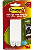 Command Large Picture-hanging Strips, White, 12 Strips