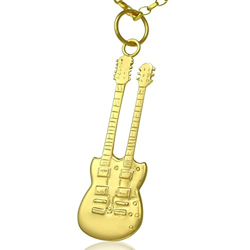 Gibson, in oro 9 k con doppio collo chitarra elettrica SG-Set di collana con pendente 50,80 cm o solo 0,0 (20 catena, Oro giallo, colore: giallo, cod. L-Gold-Twin-Neck-Guitar-Necklace20