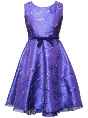 Embroidered Taffeta girls dress