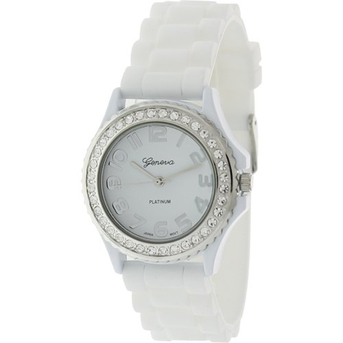 White Geneva Crystal Rhinestone Large Face Watch with Silicone Jelly Link Band