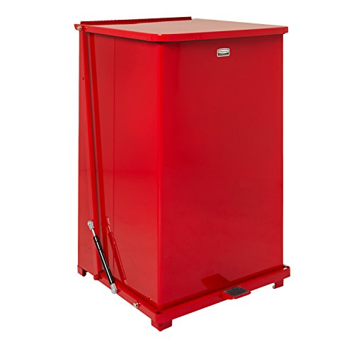 Rubbermaid Commercial FGQST40EWRBRD The Silent Defenders Steel Wheeled Step Trash Can, Square with Retaining Band, 40-gallon, Red (Rubbermaid Wheeled Garbage Can compare prices)