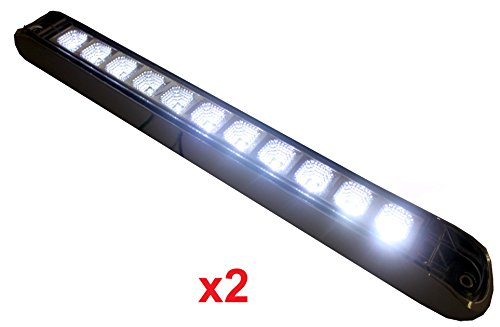 "New 2 +++ Bright 17"" White Clear Back-Up Reverse Fog Light Bar (Waterproof) With Chrome Reflector And Chrome Bezel"