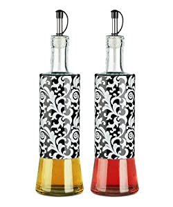Nightfall Damask Glass Oil & Vinegar Bottle - Set of Two