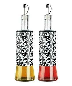Nightfall Damask Glass Oil & Vinegar Bottle - Set of Two