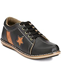 Knoos Men's Synthetic Leather Black Sneakers (SKR-902-BL)