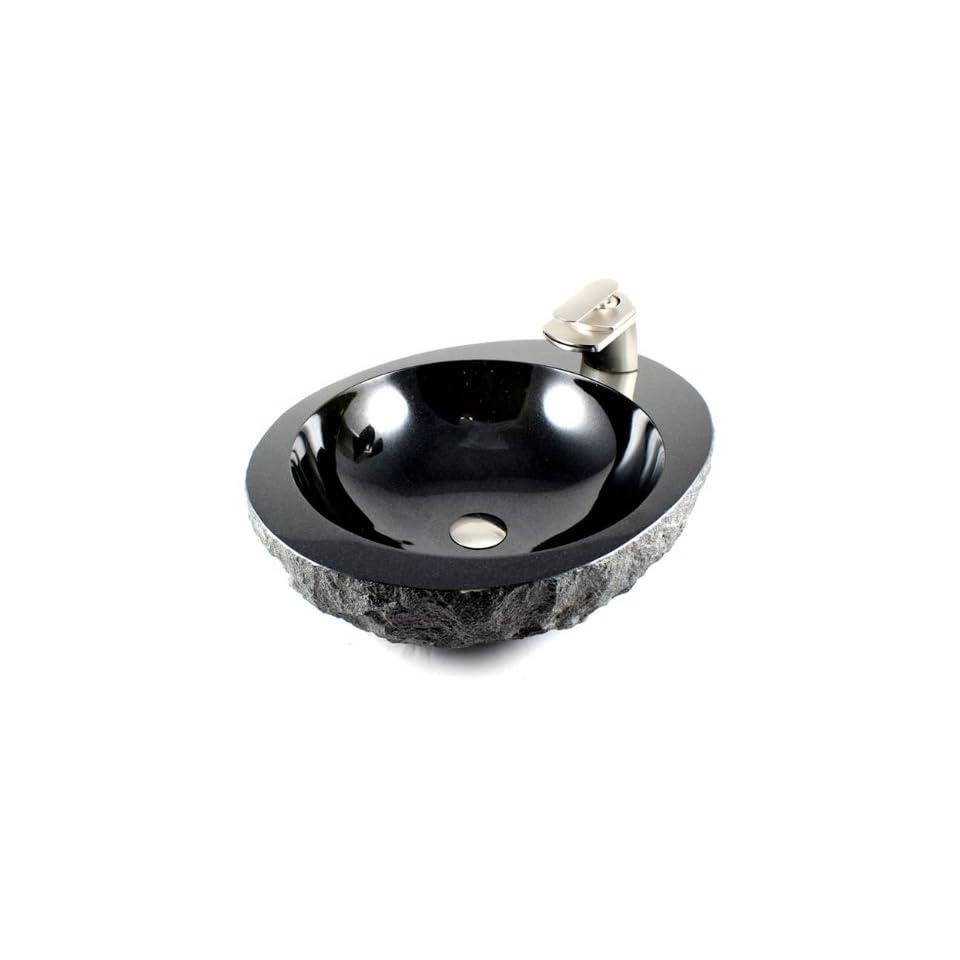 Natural Stone Absolute Black Granite Finish Bathroom Lavatory Vessel
