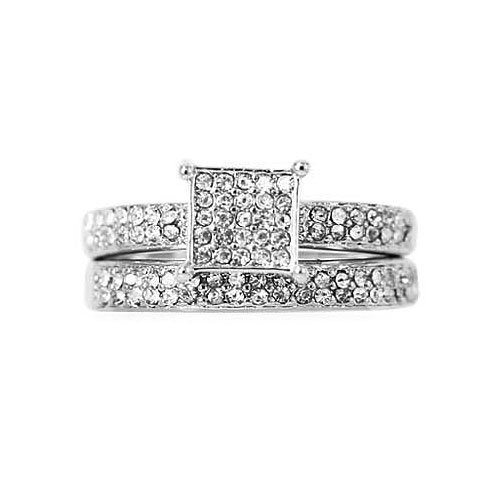 CZ Anniversary Ring Set - Square Frame Pave Set CZ Ring Set In White Gold Filled By GemGem Jewelry (7)