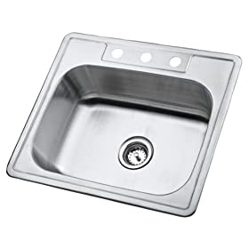 Elements of Design K25228BN# 22 Gauge Single Bowl Stainless Steel Self-Rimming Kitchen Sink, Brushed Nickel