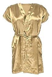 Le Fantasia Women Night Gown Kimono (Golden, Large)