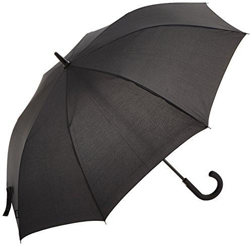 """PLEMO Ombrello Nero Classico 49"""" / 125 cm Diametro Canna Pioggia Antivento Grande Resistenti Automatico"""
