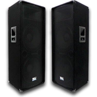 Gt Seismic Audio Pair Of Dual 15 Pa Dj Speakers 1400
