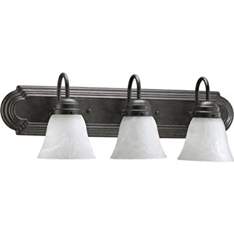 Vanity Light Bulb Shades : 3 Light Vanity Light Finish: Toasted Sienna, Bulb: 100 Watt, Shade Color: White Faux Alabaster ...
