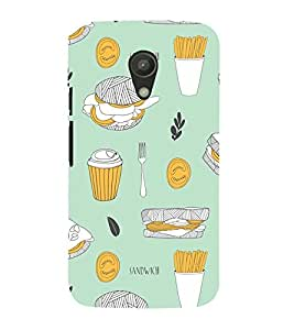 99Sublimation Animated Fast food pattern 3D Hard Polycarbonate Back Case Cover for Motorola Moto G2 :: 2nd Gen :: G XT1068 :: G 2nd Gen :: G Dual SIM 2nd gen :: G Dual SIM 2014