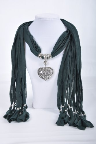 Woman's Ladies Beautiful Cotton Scarf With Filigree Design Heart Pendant, Accessory, Jewellery, Necklace Beads
