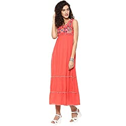 Bhama Couture Coral Embroidered Rayon Crepe Long Dress Medium