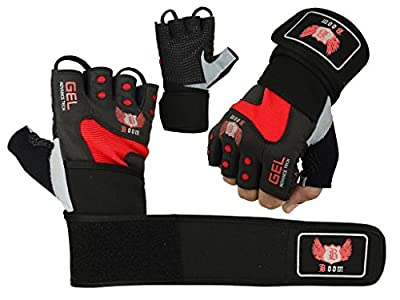 Boom Pro Red and Black Weightlifting Gym Gloves GEL Neoprene Wrist Support Wrap Strap wheelchair (FREE UK SHIPPING) by BOOM Pro