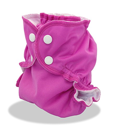 Cloth Diaper Cover - Breathable, Waterproof Cover Sewn to a Soft Microfleece Inner Layer in Bright Pink (Gem) By Applecheeks (Size 2 for 20-40 lbs.)