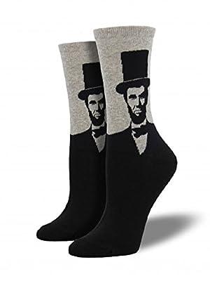 "Socksmith Womens' Novelty Crew Socks ""Abraham Lincoln"" - 1 pair (Light Gray Heather)"