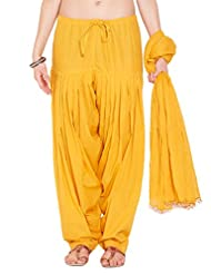 Stylenmart Ladies Yellow Cotton Regular Fit With Dupatta Dupatta Patiala Set - B0123NJ3AO