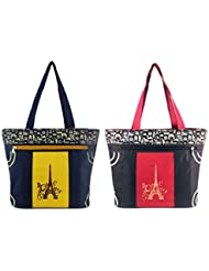 Diyaras Heavy Matty Red- Black & Navy Blue-Yellow Women's Shoulder Or Shopping Bag. (Pack Of 2)