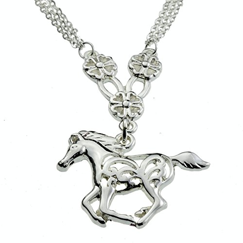 Fascinating Flower Horse Silver Pendant My Little Pony Necklace Awesome Birthday Gift Jewelry for Girls