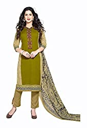 Varsha Women's Chiffon Unstitched Dress Material (Green)
