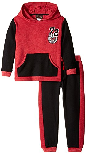 BoyzWear Little Boys' 2 Piece Kangaroo Pocketed French Terry, Red, 6