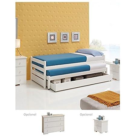LITERAS: 2 camas simples + 1 cajón con fondo Con ruedas. Pino macizo - SELECCIÓN RYSOL
