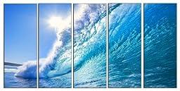 Wave seascape print on canvas, beach wave canvas print, framed ocean print on canvas for wall art