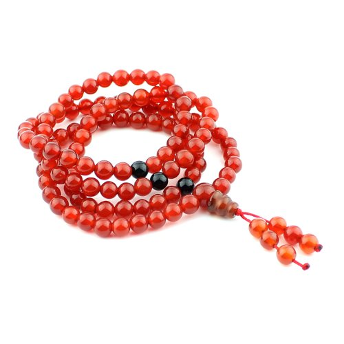 O-stone Brazil Red Agate Necklace with 108 Prayer Beads 5-6mm Meditation Mala Grounding Stone Protection Tibet Style