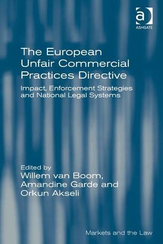 The European Unfair Commercial Practices Directive: Impact, Enforcement Strategies And National Legal Systems (Markets And The Law)