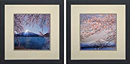 King Silk Art 100% Handmade Embroidery Mixed Group Japanese Cherry Blossoms Over Mount Fuji Forest Chinese Wildlife Landscape Painting Gifts Oriental Asian Wall Art Decoration Artwork Hanging Picture Gallery 37082WF+37110WF