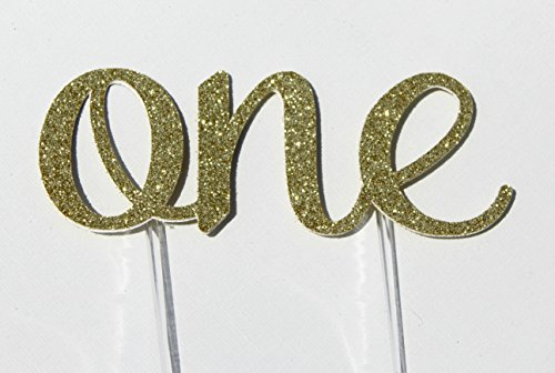 Handmade 1st First Birthday Cake Topper Decoration - One - Made in USA with Double Sided Gold Glitter Stock