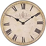 Large Shabby Chic Antiqued Cream Vintage Wall Clock 30cm