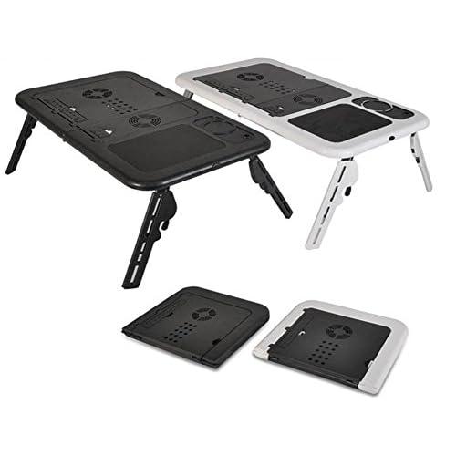 ノート パソコン テーブル 折りたたみ式 冷却 ファン 2基 USB 電源 軽量 機能的 ノート PC 机 角度 高さ 調節 ノート PC デスク (全黒)