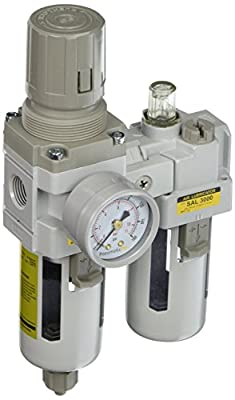 "PneumaticPlus SAU3010M-N03G 2 Piece Compressed Air Filter Regulator Lubricator Combination, 3/8"" Pipe Size, NPT-Manual Drain, Poly Bowl, 10 m with Gauge"