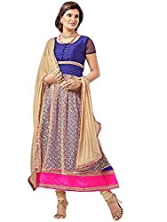 StarMart Women's Pure GeorgetteA Line Traditional Un Stitched Salwar Kameez(8009_Gold and Blue)