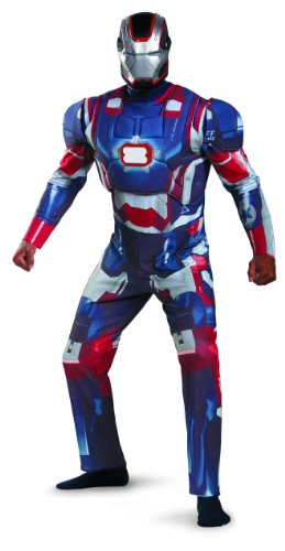 Disguise Marvel Iron Man 3 Iron Patriot Deluxe Mens Adult Costume, Blue/Red, Xx-Large/50-52