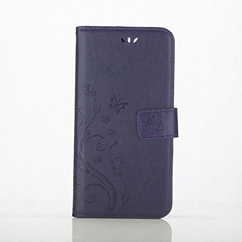 Apple iPhone 7 Case, C-Super Mall PU embossed butterfly & flower Leather Wallet Stand Flip Case for Apple iPhone 7 (purple)