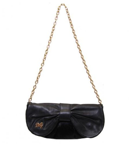 D&G Black Leather/Ponyskin Clutch Bag