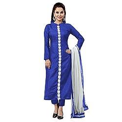 ZHot Fashion Women's Plain and Solid Un-stitched Dress Material In Banglori Silk Fabric (ZHKTN1001) Blue