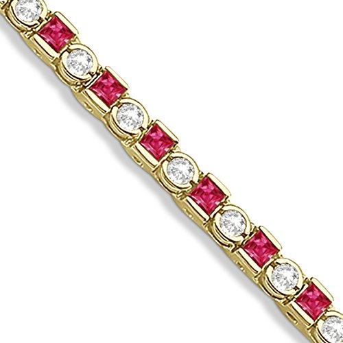 Princess Cut, Channel Set Ruby And Round, Semi Bezel Diamond, Tennis Bracelet 14K Yellow Gold 1.60Ct