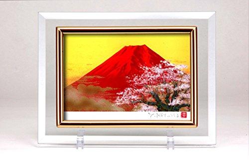 クリスタル絵画 「赤富士桜」吉岡浩太郎