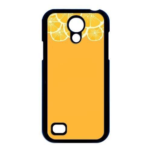 Samsung Galaxy S4 Mini i9190 Case,Yellow background orange slice pattern Fashion Trend Durable Hard Plastic Scratch-Proof Protective Case,Black