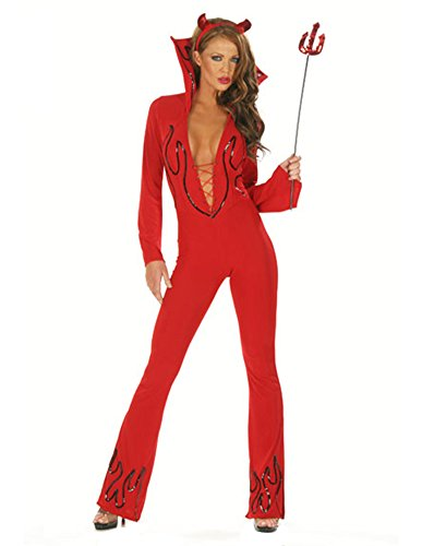 Sexy Red Female Devil Costume Cat Suit